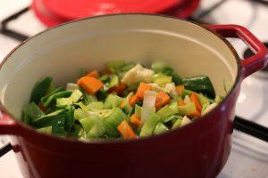 groenten in de pan