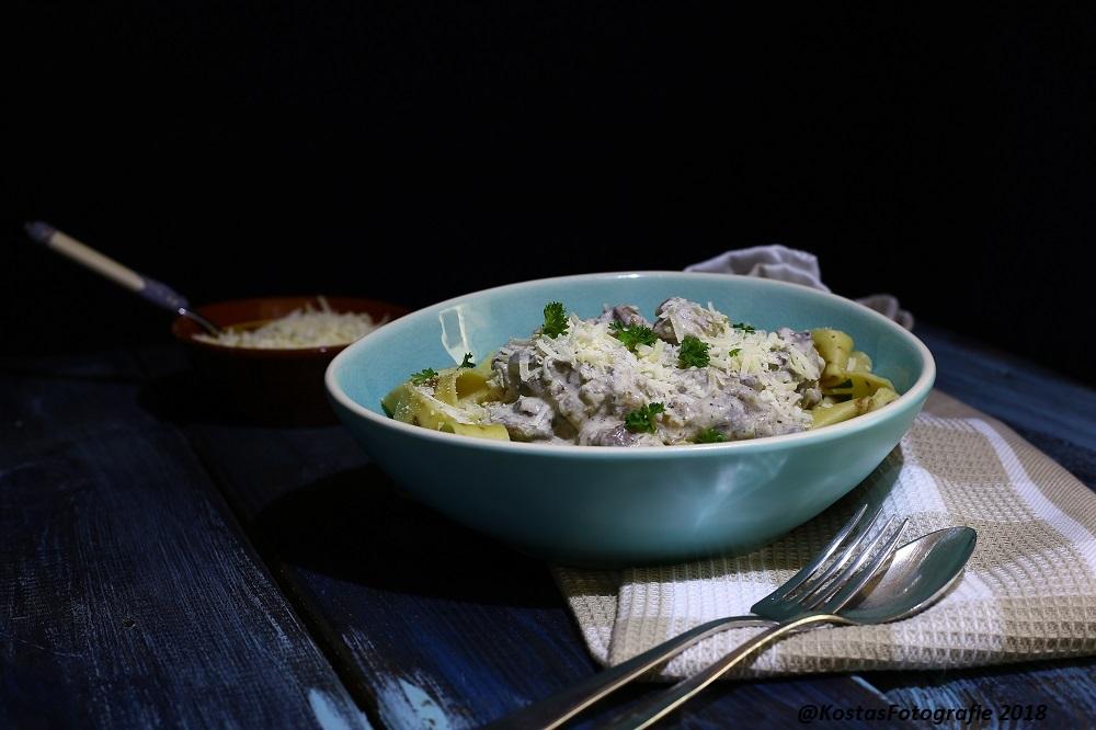 Champignons ricottasaus met pasta