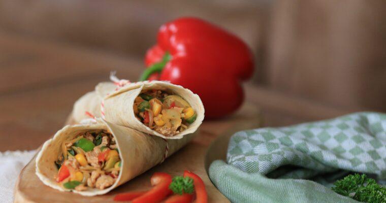 Wraps met roerbakgroenten en kip; koolhydraatarm!