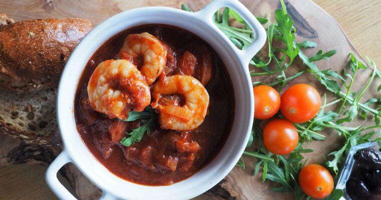 Garnalen in een saus van Mavrodaphni