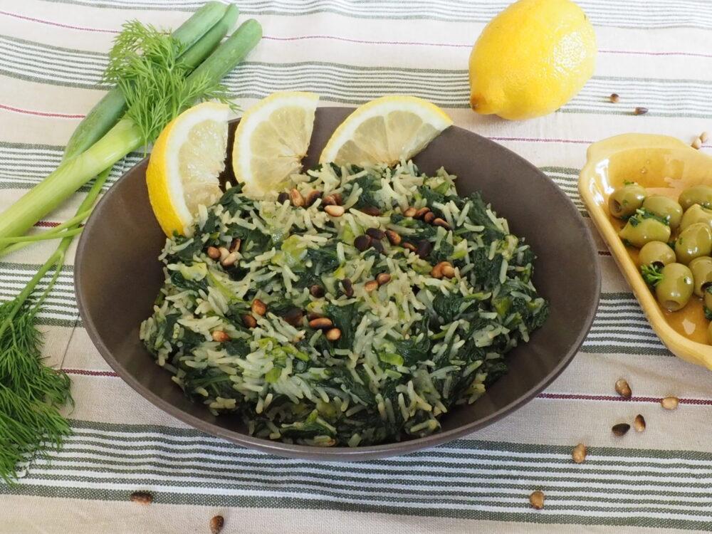 Spanakorizo is Griekse rijst met spinazie en dille