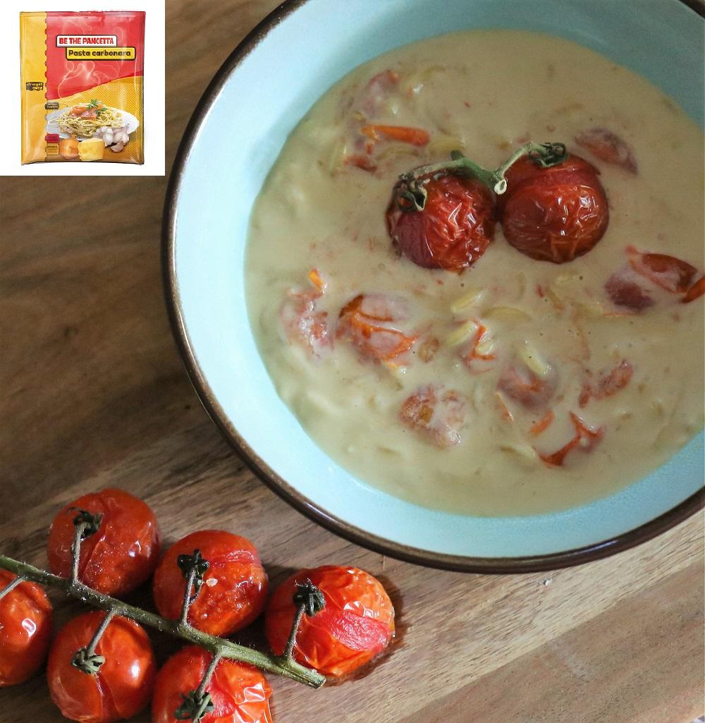 Pasta carbonara met tomaatjes